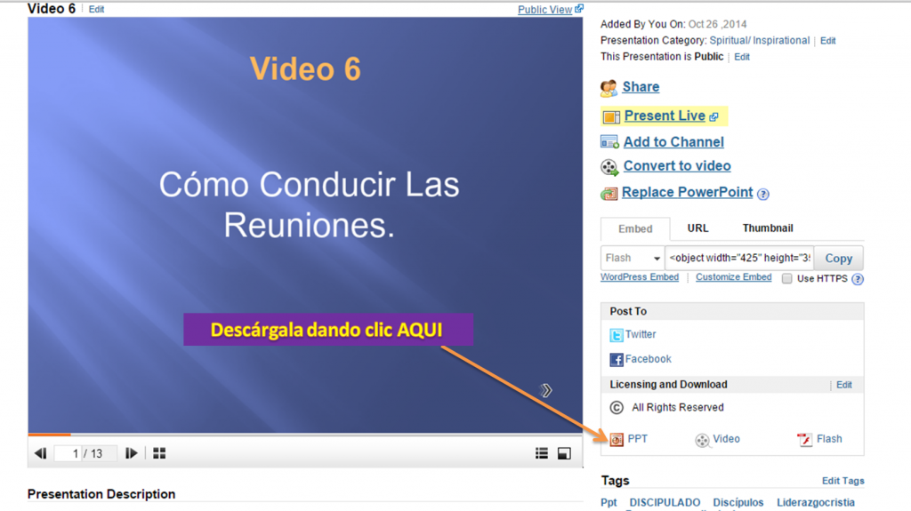 Para descargar Ppt Video 6